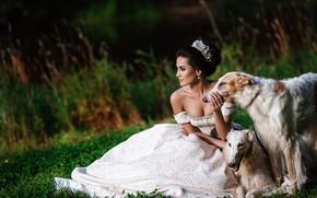 Picture dogs, look, girl, nature, pose, dress, brunette, hairstyle, beautiful, Alexander Aksenteva