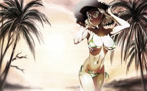 Picture beach, panties, green eyes, boobs, sunset, blonde, bikini, palms, sunglasses, anime girl