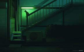 Picture Night, Cat, Silhouette, Art, Illustration, Concept Art, Environments, by Jorge Gonzalez, Jorge Gonzalez