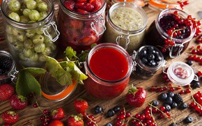 Picture leaves, table, blueberries, strawberry, berry, banks, currants, gooseberry, bokeh, jam