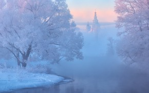 Picture Winter, river, trees, landscape, nature, sunset, snow, cold, mist, church