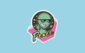 Picture retro, graphics, alien, sticker, peace, alien, retro