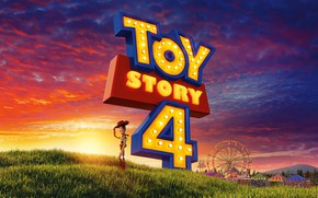Picture field, the sky, grass, clouds, cartoon, glow, cowboy, adventure, poster, attractions, Toy Story 4, Toy …