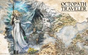 Picture girl, fantasy, game, map, digital art, artwork, fantasy art, lantern, staff, fantasy girl, priestess, Octopath …