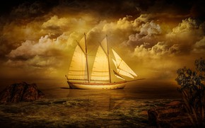 Picture sea, the sky, clouds, trees, landscape, sunset, clouds, nature, stones, rendering, shore, ship, sails, pond, …
