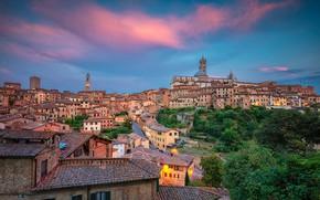 Wallpaper the sky, trees, building, home, Italy, Italy, Tuscany, Tuscany, Siena, Siena