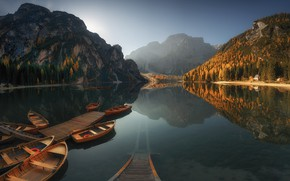 Wallpaper water, mountains, nature, Boats, Materov.