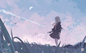 Picture the sky, grass, flowers, the moon, schoolgirl, smartphone