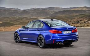 Picture BMW, back, sedan, side view, BMW M5, 2017, M5, F90