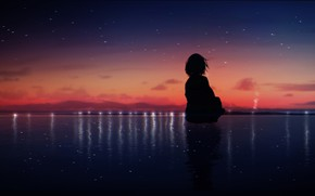 Picture water, girl, silhouette