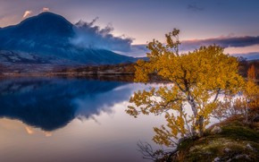 Picture autumn, clouds, landscape, nature, lake, reflection, tree, mountain, Norway
