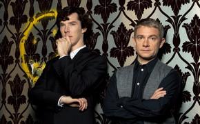 Picture wall, smile, Sherlock Holmes, Sherlock, Sherlock BBC, Sherlock Holmes, partners, John Watson, Sherlock (TV series)