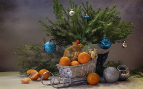 Picture branches, holiday, toys, new year, spruce, tree, bag, sled, tangerines, Kovaleva Svetlana, Svetlana Kovaleva