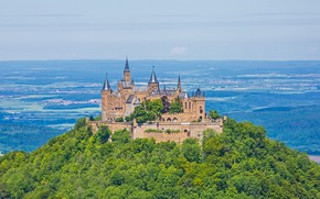 Picture forest, castle, Germany, hill, Hohenzollern, Hohenzollern Castle