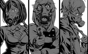 Picture collage, trio, masks