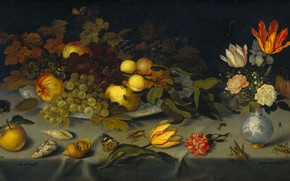Picture oil, picture, 1621, Still life with fruit and flowers, Balthasar van der AST, Balthasar van …