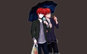Picture umbrella, guys, 707, Mystic Messenger, by rakiblueguy