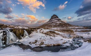 Picture winter, the sky, clouds, snow, mountains, nature, river, blue, stream, stones, rocks, blue, for, mountain, …