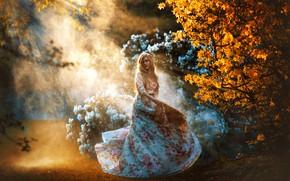 Picture autumn, girl, nature, pose, garden, dress, haze, beautiful, Mea Carena, Melanie Dietze