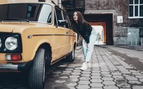 Picture machine, girl, street, home, mirror, yard, looks, Olga Liferova