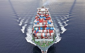 Picture trade, containers, commercial vessel