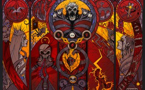 Picture Glass, Skull, Monster, Style, The demon, Fantasy, Demons, Art, Fiction, Characters, Stained glass, Path of …