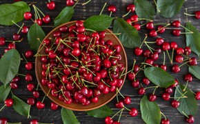 Picture leaves, berries, background, bowl, cherry