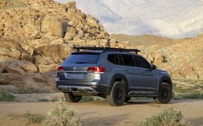 Picture mountains, rocks, Volkswagen, SUV, Atlas, 2019, dark gray, Basecamp Concept