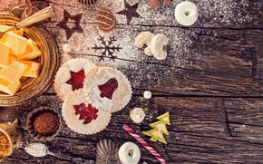 Picture cookies, cakes, jam, powdered sugar