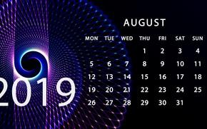 Picture August, calendar, 2019