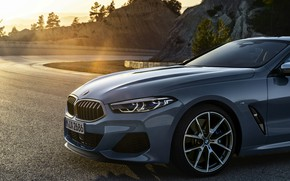 Picture rays, light, coupe, BMW, Coupe, 2018, the front part, gray-blue, 8-Series, pale blue, M850i xDrive, …