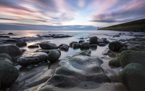 Picture The sky, The evening, Lighthouse, Stone, Coast, Shoal, Boulders