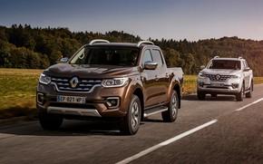 Picture road, grey, Renault, brown, 4x4, 2017, Alaskan, pickups