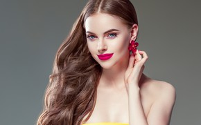 Picture flower, look, girl, hand, makeup, fingers, gesture, earrings, curls, manicure, model, Ryabusjkina Irina