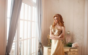 Picture look, girl, pose, style, photo, model, hair, makeup, dress, mirror, window, beauty, Elizabeth Bondarenko