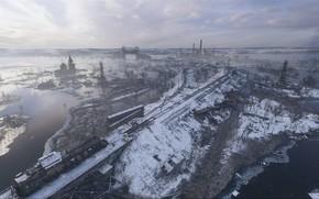 Picture winter, snow, rails, Church, Train, Snow, Metro Exodus