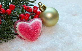 Picture winter, snow, berries, heart, new year, ball, Christmas, berry, christmas, heart, winter, snow, sweet, sweet, …