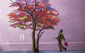 Picture house, tree, figure