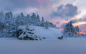 Picture winter, the sky, snow, trees, sunset, the evening, Fedor Lashkov
