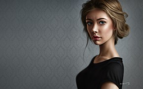 Picture Girl, Minimalism, Figure, Look, Lips, Face, Girl, Eyes, Portrait, Brown hair, Art, Illustration, Hair style, ...
