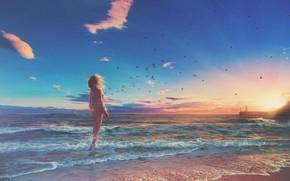 Picture sea, wave, beach, girl, birds, lighthouse, horizon, waves, girl, beach, sea, sunset, sunset, birds, beautiful …