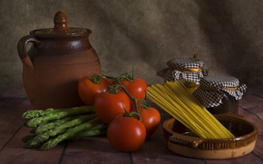 Picture pitcher, tomatoes, spaghetti, products, asparagus