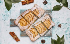 Picture apples, powdered sugar, the dough, pies, flaky