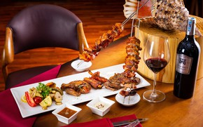 Picture wine, glass, meat, vegetables, tomato, kebab