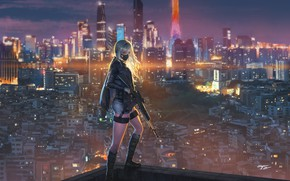 Picture girl, the city, weapons, mask, shooter