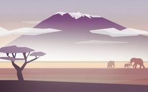 Picture Nature, Minimalism, Mountain, Africa, Elephant, Landscape, Nature, Animals, Art, Art, Landscape, Tree, Mountain, Elephants, Africa, …