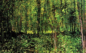 Picture woods, Vincent van Gogh, young trees, Trees and Undergrowth 2
