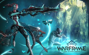 Picture weapons, being, soldiers, armor, cyborg, two, character, Warframe