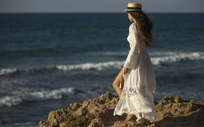 Picture sea, girl, pose, back, Darash Alex