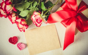 Picture love, gift, roses, bouquet, tape, red, red, love, flowers, romantic, valentine's day, roses, gift box